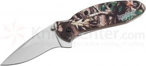 Kershaw 1620C Scallion Assisted Flipper 2.25 inch Bead Blast Plain Blade, Realtree Hardwood HD Camo Aluminum Handles
