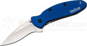 Kershaw 1620NB Scallion Assisted 2-1/4 inch Plain Blade, Navy Blue Aluminum Handles