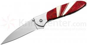 Kershaw 1660JC Ken Onion Leek Assisted Flipper 3 inch Blade, Red Coral and Mother of Pearl Jewelry Collection
