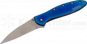 Kershaw 1660SWBLUE Leek Assisted 3 inch Stonewash Plain Blade, Blue Stainless Steel Handles