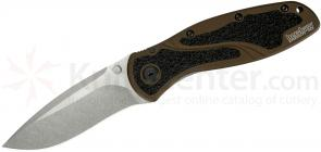 Kershaw 1670SWBR Blur by Ken Onion Assisted 3-3/8 inch Stonewashed Elmax Blade, Brown Aluminum Handles