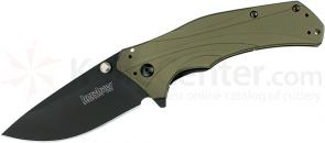Kershaw 1870OLBLK Knockout Assisted 3.25 inch Black Plain Blade, Olive Drab Aluminum Handles