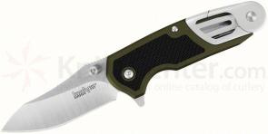 Kershaw 8000OL Olive Funxion Outdoor 3 inch Plain Satin Blade, Aluminum Handles