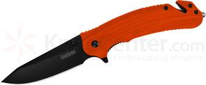 Kershaw 8650 Barricade Assisted Flipper 3.5 inch Black Clip Point Blade, Orange GFN Handles, Strap Cutter