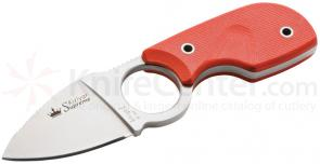 Kizlyar Supreme Amigo X D2 Neck Knife 2.75 inch Satin Plain Blade, Orange G10 Handles (KK0098)