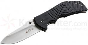 Kizlyar Supreme Bloke X D2 Satin Folding Knife 3.9 inch Satin Plain Blade, Black G10 Handles (KK0150)
