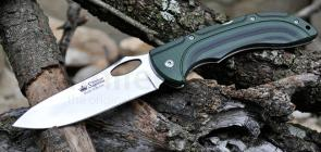 Kizlyar Supreme Dream 440C Folding Knife 4.1 inch Polished Plain Blade, Black/Green Micarta Handles (KK0166)