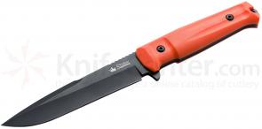 Kizlyar Supreme Delta AUS8 Fixed 6 inch Black Titanium Plain Blade, Orange Kraton Handle (KK0210)
