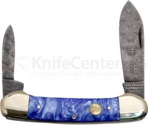 Robert Klaas Limited Edition Damascus Blue Canoe, 3.6 inch Closed