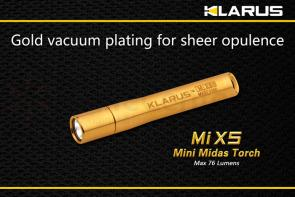 Klarus MiX5 AU Midas Torch LED AAAA Flashlight, Gold Body, 76 Max Lumens