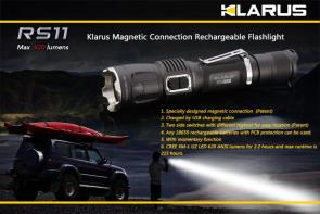 Klarus RS11 Rechargeable LED 1x18650 Flashlight, Military Gray Body, 620 Max Lumens