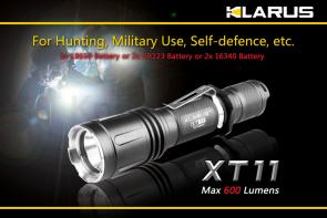 Klarus XT11 Tactical LED 2xCR123A Flashlight, Military Gray Body, 600 Max Lumens