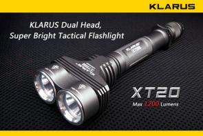 Klarus XT20 Tactical LED 4xCR123A Twin Head Flashlight, Military Grey Body, 1200 Max Lumens