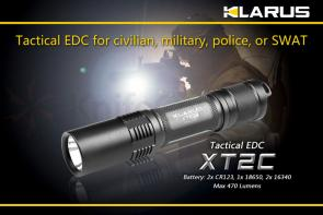 Klarus XT2C Tactical EDC LED 2xCR123A Flashlight, Military Gray Body, 470 Max Lumens