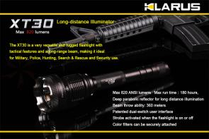 Klarus XT30 Long Distance LED 4xCR123A Flashlight, Military Gray Body, 820 Max Lumens