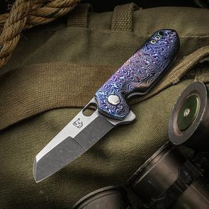KM Designs Custom Drei Konig Flipper 3 inch CPM-154 Two-Tone Compound Blade, Mokuti and Titanium Handles, Mokuti Clip and Spacer
