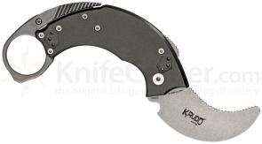 Krudo Knives SNAG Folder Self Defense Tool 2-1/2 inch Unsharpened Stonewash Blade, Titanium Gray Aluminum Handles