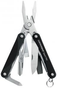 Leatherman Squirt PS4 Keychain Mini Multi-Tool, Black Aluminum Handles