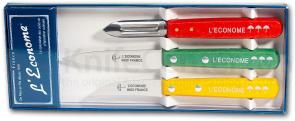 Therias & L'Econome French Made Paring Knife and Peeler Set, Colored Wooden Handles