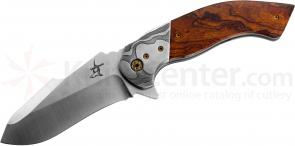 Greg Lightfoot Custom One-Off Offspring Flipper 3.75 inch CPM-154 Recurve Blade, Desert Ironwood Handles with Damascus Bolsters