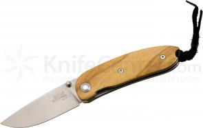 LionSteel 8210 UL Mini Folding 2.36 inch Satin D2 Tool Steel Blade, Olive Wood Handles, Leather Pouch