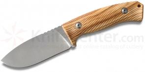 LionSteel M3 Hunter Fixed 4-1/2 inch Niolox Blade, Olive Wood Handles, Leather Sheath