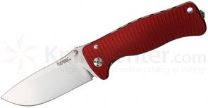 LionSteel SR-2A RS Folding 3.07 inch Satin Sleipner Steel Blade, Red Aluminum Handle