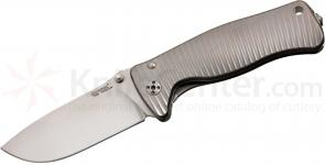 LionSteel SR-2 G Folding 3.07 inch Satin Sleipner Steel Blade, Gray Titanium Handle with Presentation Box