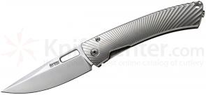 LionSteel TS1 TiSpine Folding Knife 3.35 inch Elmax Blade, Polished Gray Titanium Handles