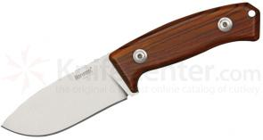 LionSteel M2 CB Hunter Fixed 3-1/2 inch D2 Blade, Cocobolo Wood Handles, Leather Sheath