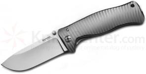 LionSteel SR-1 G Folding 3.7 inch Satin Sleipner Steel Blade, Gray Titanium Handle with Presentation Box