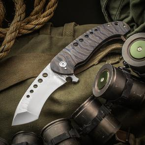 Melvin Lozada Custom Chronos Flipper 3.875 inch CPM-20CV File Worked Compound Blade, Flamed Titanium Handles
