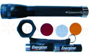 MagLite 2AA Combo Pack Light Plus Pocket Clip Color Lenses Wrist Strap