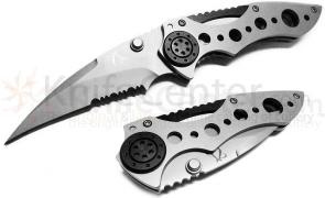 Mantis MR-1b Aardvark Folding Knife 2-3/4 inch Beat Blast Combo Blade, Steel Handles