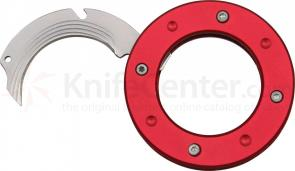 Mantis MU-6r Cyclops Utility Neck Knife 2.5 inch Hawkbill Blade, Red Aluminum Handles, Neck Chain