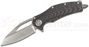 Marfione Custom Knives Matrix R Flipper 3.75 inch Two-Tone Stonewash M390 Blade, Carbon Fiber Handle, Nylon Pouch