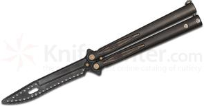 Marfione Custom Knives Tachyon III Balisong Trainer 4.5 inch Unsharpened M390 Blade, Stonewashed DLC Titanium Handles