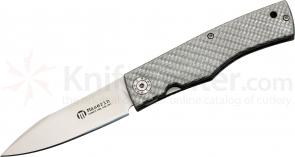 Maserin 392/CG Folding Knife 3 inch Blade, Silver Carbon Fiber Handles