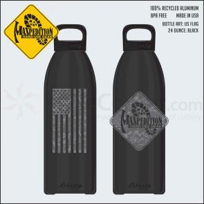 Maxpedition LB24FLAGB 24oz Water Bottle  inchFLAG inch, Black