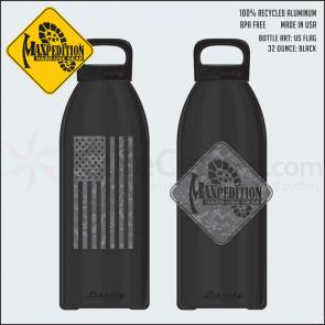 Maxpedition LB32FLAGB 32oz Water Bottle  inchFLAG inch, Black