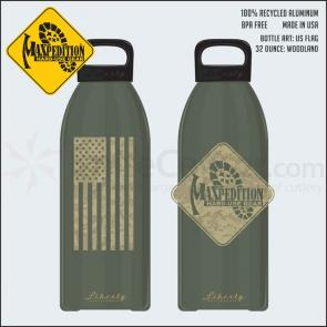 Maxpedition LB32FLAGW 32oz Water Bottle  inchFLAG inch, Woodland