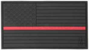 Maxpedition PVC Large USA Flag Patch, Firefighter Thin Red Line