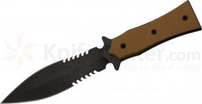 Medford BOA-P Tactical Fixed 5-1/4 inch D2 Double Edge Combo Blade, Coyote G10 Handle, Coyote Kydex Sheath