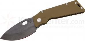 Medford TFF1 Tactical Fighting Folder 4-1/2 inch Black D2 Plain Spear Point Blade, Coyote Brown Titanium Handles
