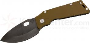 Medford TFF1 Tactical Fighting Folder 4-1/2 inch Black D2 Plain Spear Point Blade, Coyote Brown/Flamed Titanium Handles