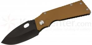 Medford TFF1 Tactical Fighting Folder 4-1/2 inch Black D2 Plain Spear Point Blade, Coyote Brown G10/Tumbled Titanium Handles