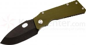 Medford TFF1 Tactical Fighting Folder 4-1/2 inch Black D2 Plain Spear Point Blade, OD Green G10/Bead Blast Titanium Handles