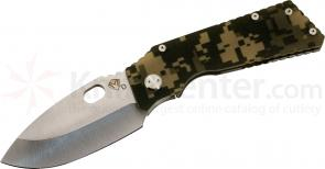 Medford TFF1 Tactical Fighting Folder 4-1/2 inch Tumble D2 Plain Spear Point Blade, Digital Camo G10/Tumbled Titanium Handles