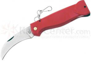Mercury Mico P Mushroom Knife 2-3/4 inch Pruner Blade, Red Plastic Handles and Fold Out Brush