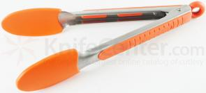 Messermeister 9 inch Silicone-Coated Locking Tongs, Orange (Resistant up to 430°F)